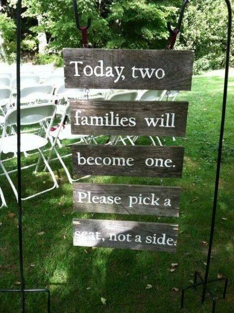 Weddings are about enjoying the day, a celebration of love - no longer do we pick a side to sit!